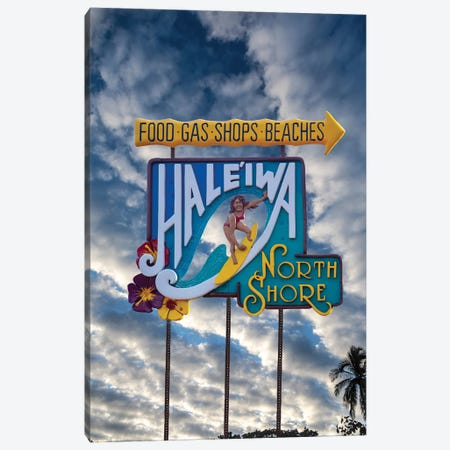 Haleiwa Sign Woman Clouds Canvas Print #SDV117} by Sean Davey Canvas Art