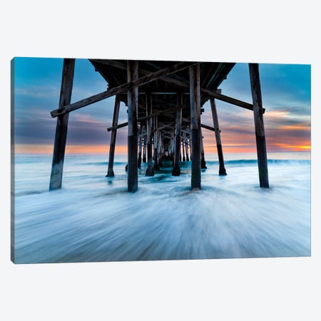 Balboa Pier Baby Blues And Ambers Canvas Print #SDV269} by Sean Davey Canvas Art Print