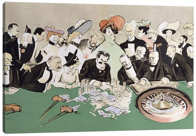 Gamblers In The Casino At Monte-Carlo, c.1910 Canvas Art Print
