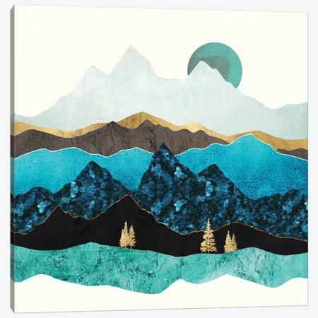 Teal Afternoon Canvas Print #SFD135} by SpaceFrog Designs Canvas Wall Art