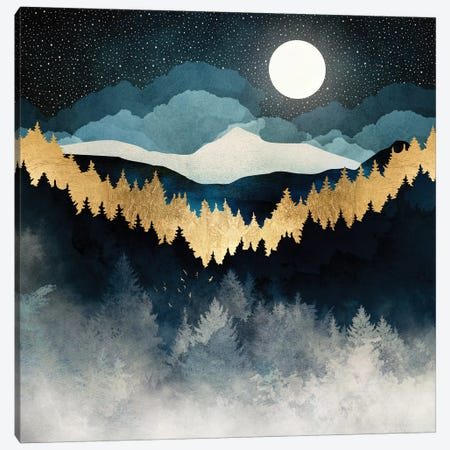 Indigo Night Canvas Print #SFD154} by SpaceFrog Designs Canvas Artwork