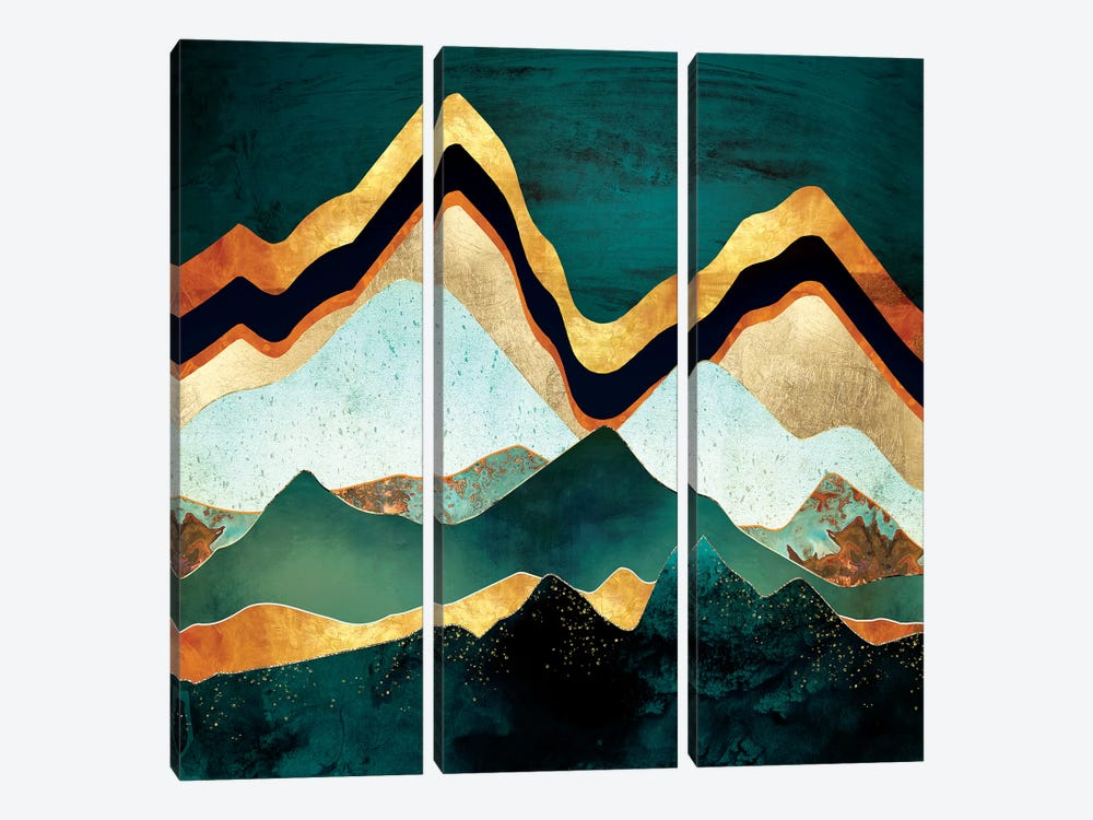 Velvet Copper Mountains by SpaceFrog Designs 3-piece Canvas Art Print