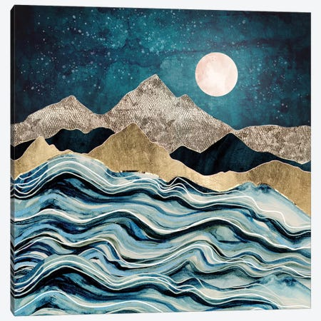 Indigo Sea Canvas Print #SFD178} by SpaceFrog Designs Canvas Art Print