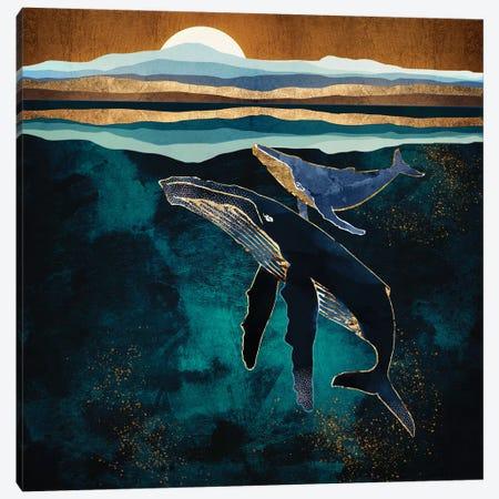 Moonlit Whales Canvas Print #SFD179} by SpaceFrog Designs Canvas Print