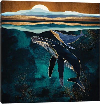 Moonlit Whales Canvas Art Print