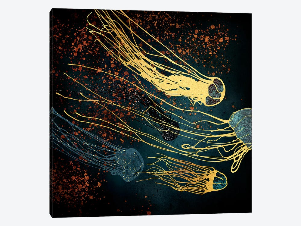 Metallic Jellyfish by SpaceFrog Designs 1-piece Canvas Print