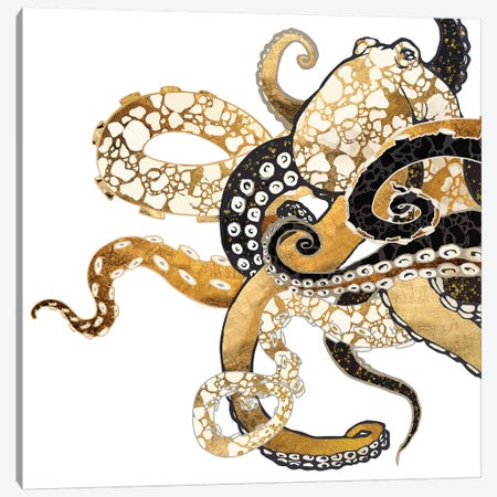 Metallic Octopus Canvas Print #SFD192} by SpaceFrog Designs Canvas Print