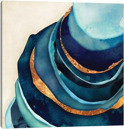 Abstract Blue And Gold Canvas Art Print