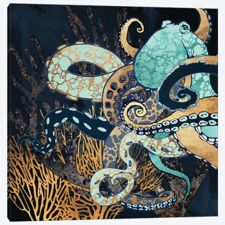 Metallic Octopus II Canvas Print #SFD204} by SpaceFrog Designs Canvas Wall Art