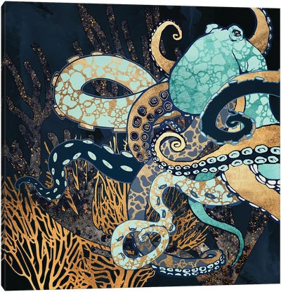 Metallic Octopus II Canvas Art Print