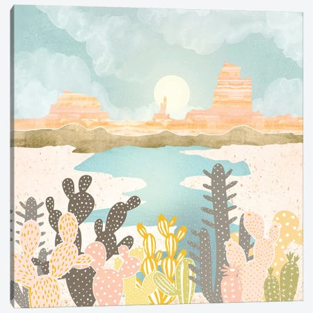 Retro Desert Oasis Canvas Print #SFD217} by SpaceFrog Designs Canvas Print