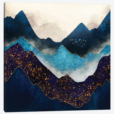 Indigo Peaks Canvas Print #SFD226} by SpaceFrog Designs Canvas Artwork