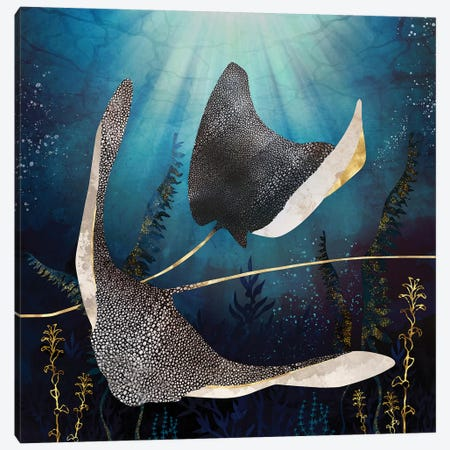Metallic Stingray Canvas Print #SFD234} by SpaceFrog Designs Art Print