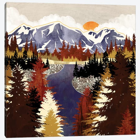 Autumn River Canvas Print #SFD239} by SpaceFrog Designs Canvas Wall Art