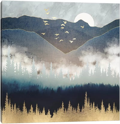 Blue Mountain Mist Canvas Art Print