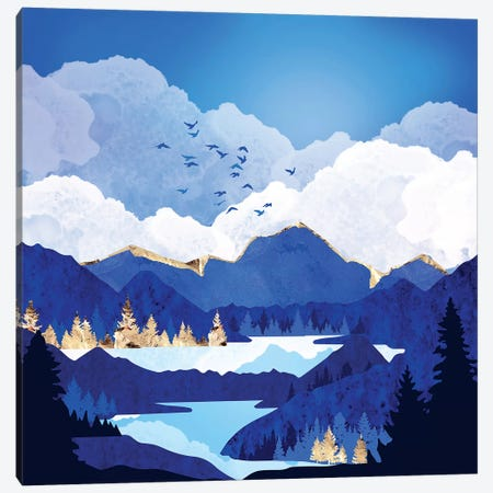 Blue Lake Canvas Print #SFD258} by SpaceFrog Designs Canvas Art