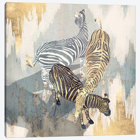 Metallic Zebras Canvas Print #SFD261} by SpaceFrog Designs Art Print