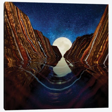Moon Reflection Canvas Print #SFD270} by SpaceFrog Designs Canvas Wall Art