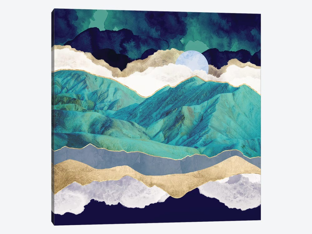 Teal Mountains by SpaceFrog Designs 1-piece Canvas Art