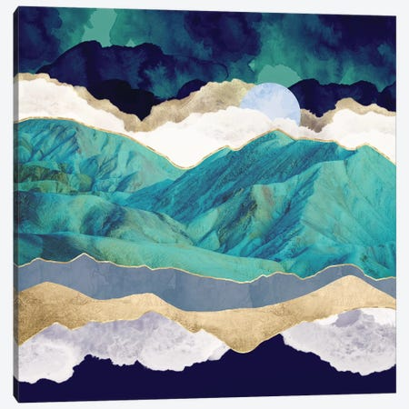 Teal Mountains Canvas Print #SFD282} by SpaceFrog Designs Canvas Art Print