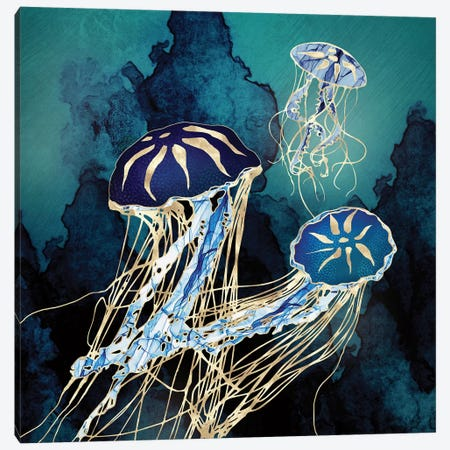 Metallic Jellyfish III Canvas Print #SFD286} by SpaceFrog Designs Canvas Wall Art