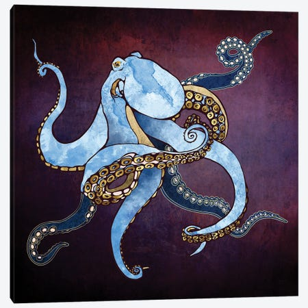 Metallic Octopus Iii Canvas Print #SFD305} by SpaceFrog Designs Canvas Print