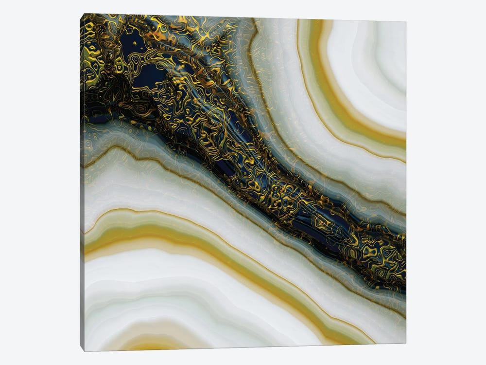 Navy and Gold Abstract by SpaceFrog Designs 1-piece Art Print