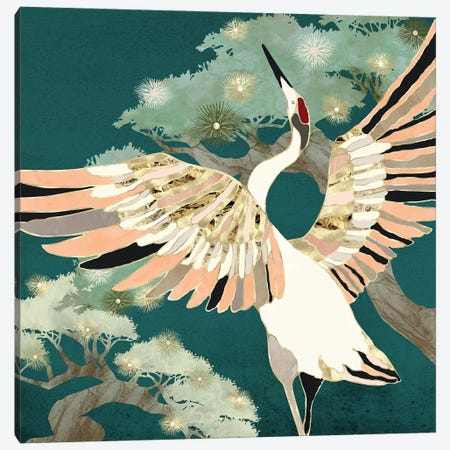 Golden Crane Canvas Print #SFD320} by SpaceFrog Designs Canvas Wall Art