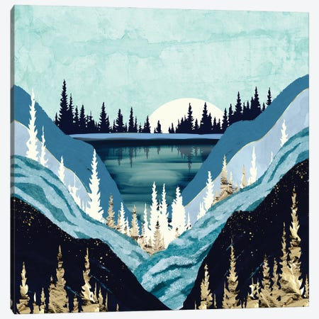 Blue Forest Lake Canvas Print #SFD323} by SpaceFrog Designs Canvas Wall Art