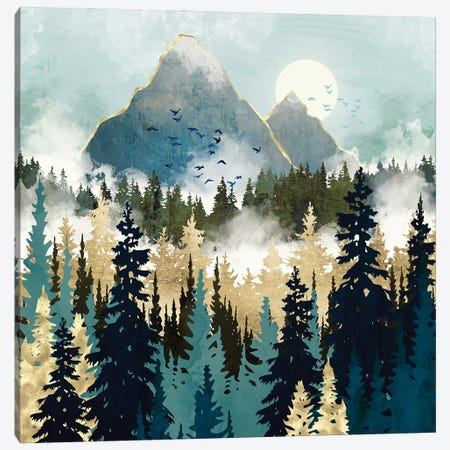 Misty Pines Canvas Print #SFD337} by SpaceFrog Designs Canvas Artwork
