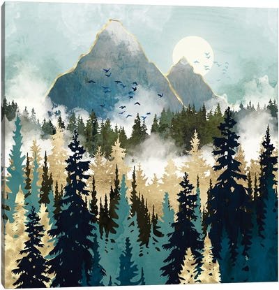 Misty Pines Canvas Art Print