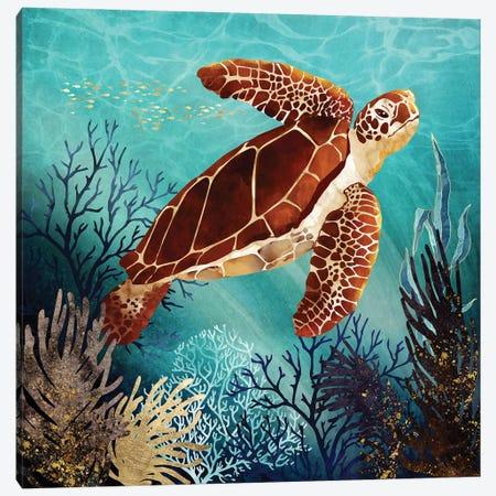 Metallic Sea Turtle Canvas Print #SFD356} by SpaceFrog Designs Canvas Artwork