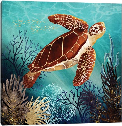 Metallic Sea Turtle Canvas Art Print