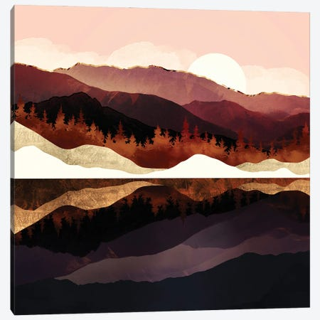 Rose Mountain Reflection Canvas Print #SFD358} by SpaceFrog Designs Art Print