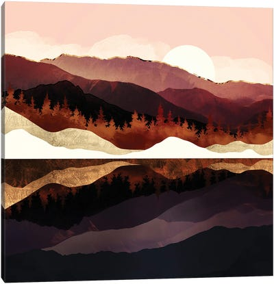 Rose Mountain Reflection Canvas Art Print