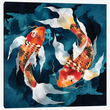 Metallic Koi II Canvas Print #SFD370} by SpaceFrog Designs Art Print