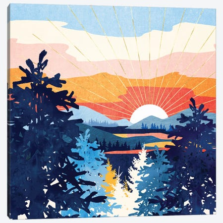 Sunset Lake Canvas Print #SFD390} by SpaceFrog Designs Art Print