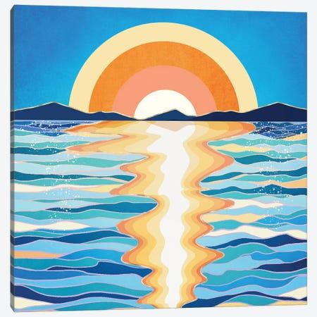 Retro Ocean Sun Canvas Print #SFD392} by SpaceFrog Designs Canvas Art Print
