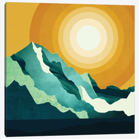 Retro Mountain Sunset Canvas Print #SFD394} by SpaceFrog Designs Canvas Art