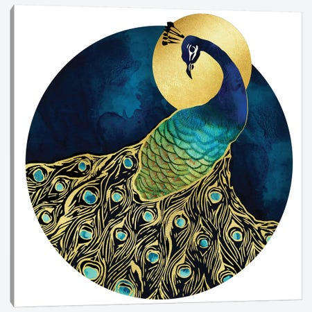 Golden Peacock Canvas Print #SFD50} by SpaceFrog Designs Canvas Art