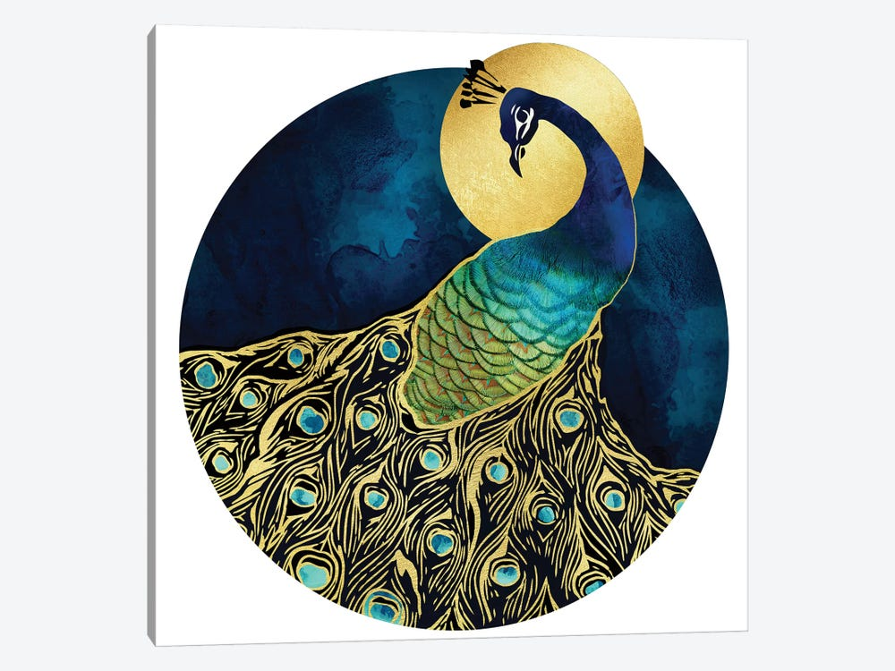 Golden Peacock by SpaceFrog Designs 1-piece Canvas Wall Art