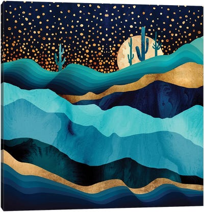 Indigo Desert Night Canvas Art Print