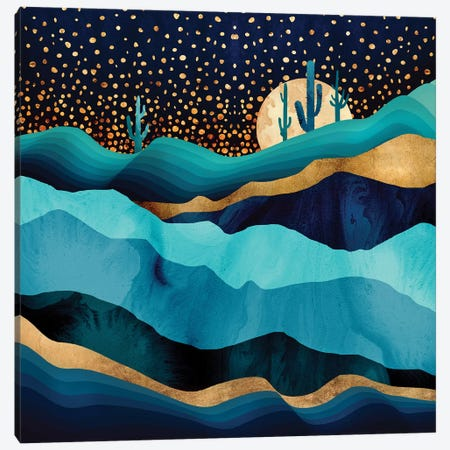 Indigo Desert Night Canvas Print #SFD55} by SpaceFrog Designs Canvas Art Print
