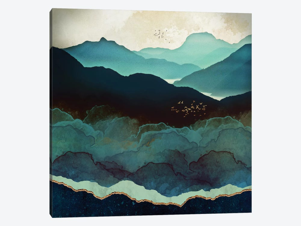 Indigo Mountains 1-piece Canvas Art