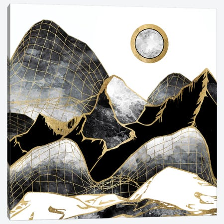 Minimal Black And Gold Mountains Canvas Print #SFD75} by SpaceFrog Designs Canvas Art Print