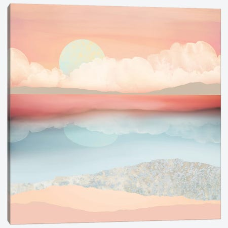 Mint Moon Beach Canvas Print #SFD76} by SpaceFrog Designs Canvas Art Print