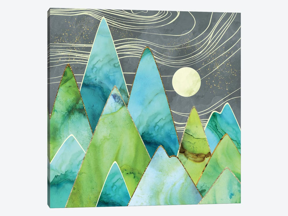 Moonlit Mountains by SpaceFrog Designs 1-piece Canvas Art