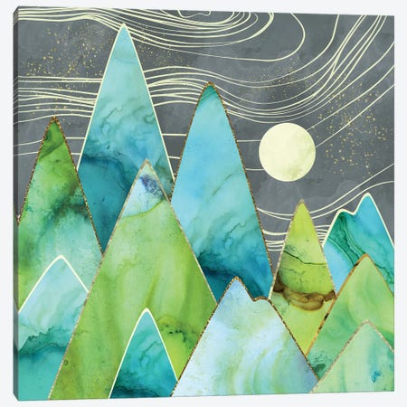 Moonlit Mountains Canvas Print #SFD78} by SpaceFrog Designs Canvas Art