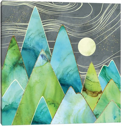 Moonlit Mountains Canvas Art Print