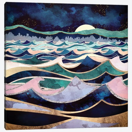 Moonlit Ocean Canvas Print #SFD79} by SpaceFrog Designs Canvas Artwork